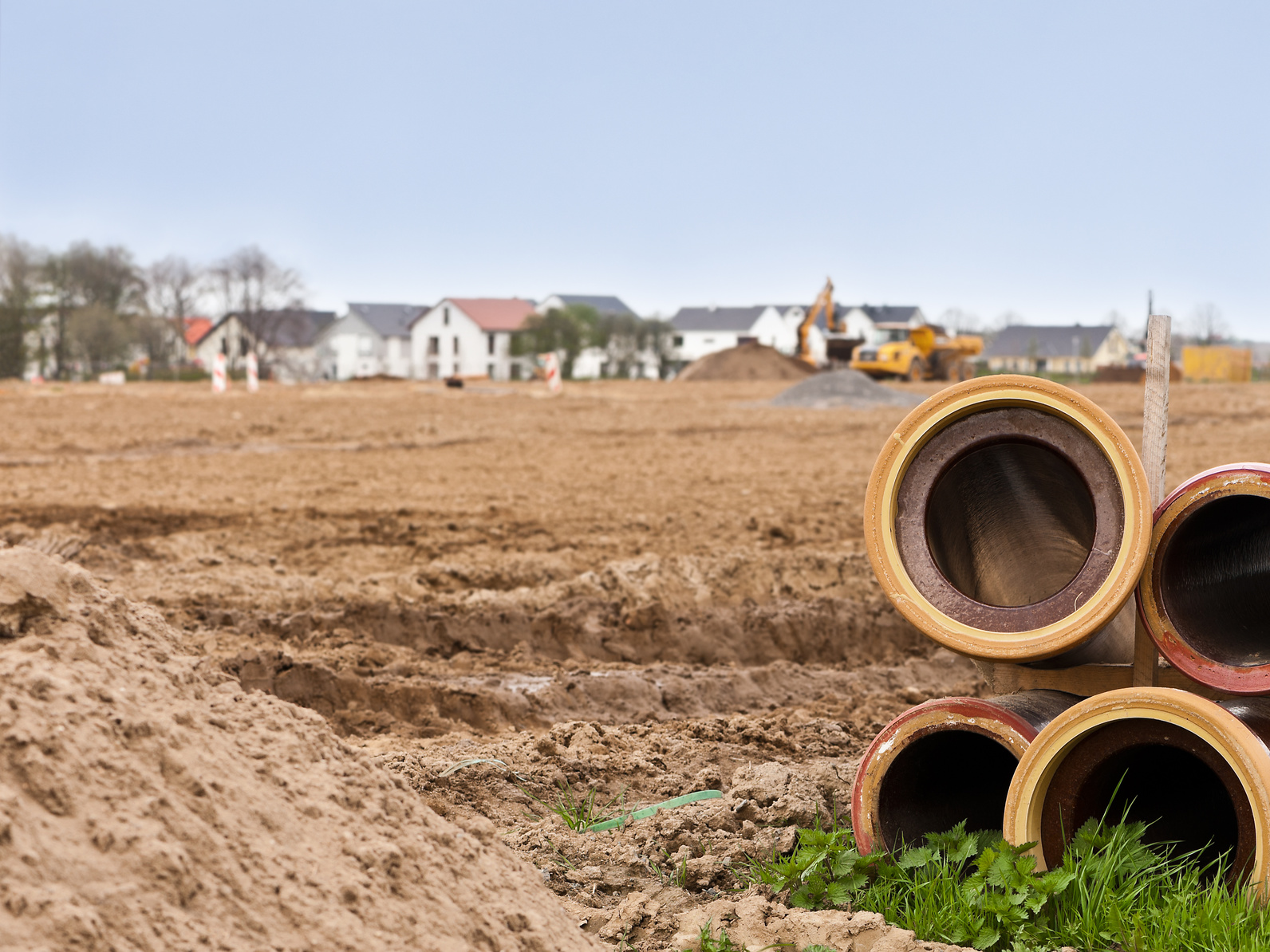 Erschließungsarbeiten für ein Neubaugebiet