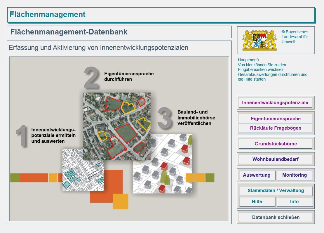 Screenshot der Flächenmanagement-Datenbank des Bayerischen Landesamtes für Umwelt