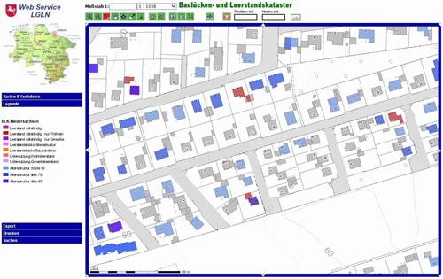 Screenshot des Baulücken- und Leerstandskatasters