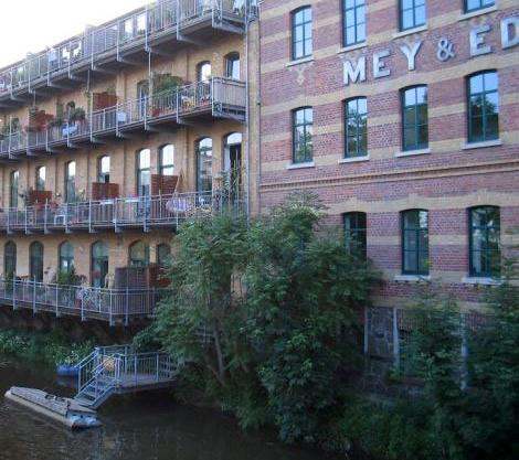 Leipzig-Plagwitz: Die alte Fabrik Mey & Edlich an der Weißen Elster wurde in Wohnungen und Büros umgewandelt