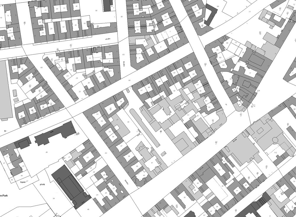 Kartenausschnitt aus dem Berliner Liegenschaftskataster. Grafik: Geoportal Berlin / Liegenschaftskataster