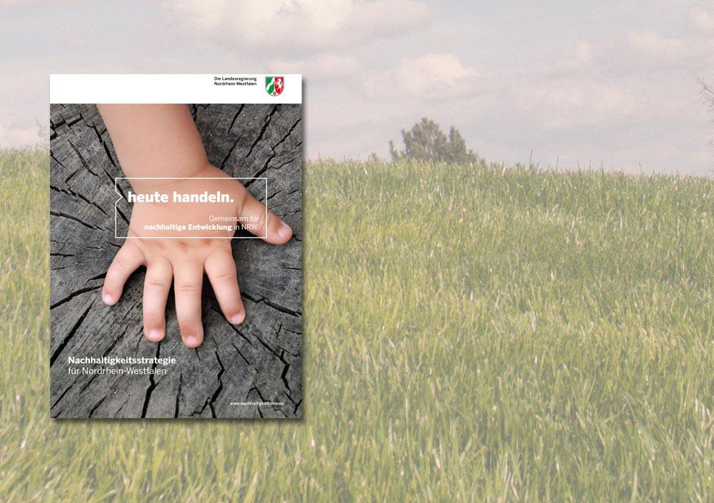 """Deckblatt der Veröffentlichung """"heute handeln. Gemeinsam für nachhaltige Entwicklung in NRW"""""""