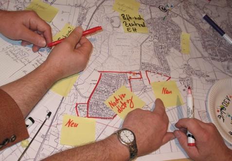Plan mit städtebaulichen Entwicklungsoptionen