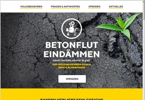 Internetseite zum Volksbegehren gegen den Flächenfraß in Bayern