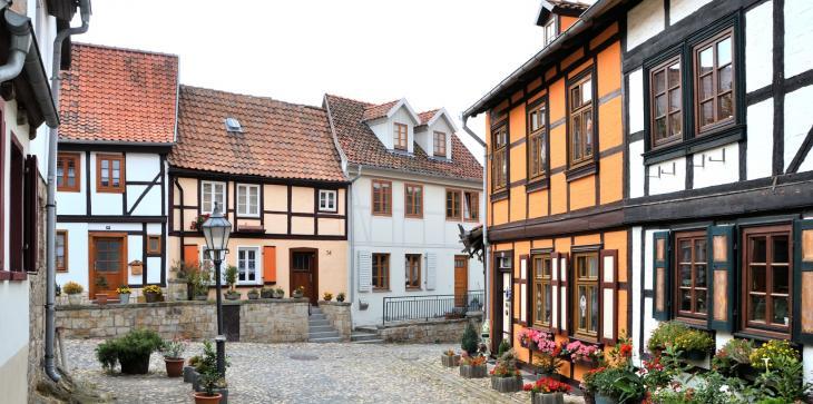 Fachwerkhäuser im Stadtzentrum von Quedlinburg