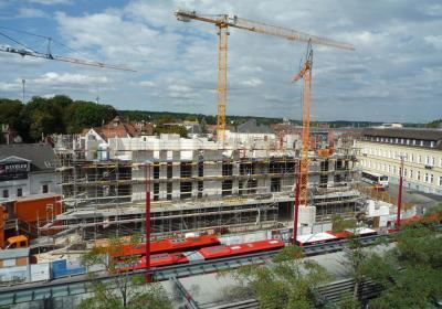 """Innenentwicklung durch Nachverdichtung - Wohn- und Dienstleistungsquartier """"Am Stadtgarten"""", nach der Bauphase"""
